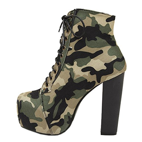 Harshion Katoenen Enkel Schoenen Hot Dames Mode Lita Platforms Hoge Hakken Lace Up Laarzen Dames