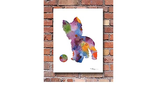 Yorkshire Terrier Abstract Watercolor Painting Art Print by Artist DJ Rogers