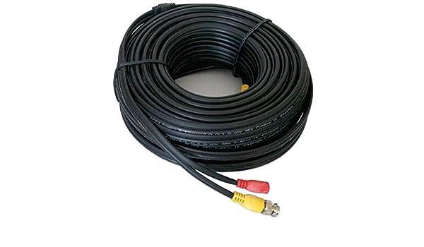 prediseñadas Premium Grade Negro RG59 siamés 100 pies de longitud de cable con vídeo BNC y conectores de alimentación para uso con HD-TVI, AHD, CVI, ...
