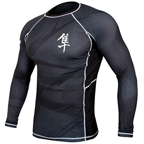 Hayabusa Metaru 47 Silver Rashguard Long Sleeve Shirt, Small, Black