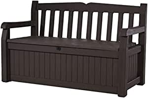 70 Gallon Storage Bench Deck Box for Patio Furniture, Front Porch Decor and Outdoor Seating – Perfect to Store Garden Tools and Pool Toys,Brown
