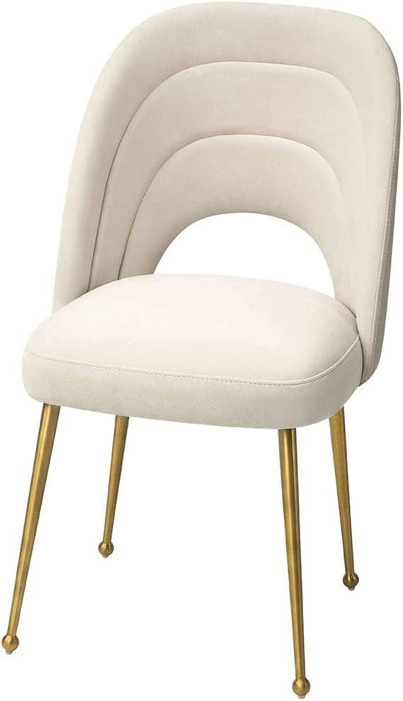 Amazon Com Mexiya Sia Dining Chair Modern Beige Side Chair Easy Clean Velvet Upholstered Dining Chair With Brushed Gold Leg Chairs