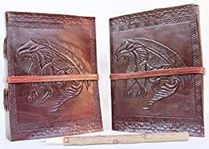 Incredible Antique Arts Handmade Vintage Embossed Flying Single Dragon With Leather Strap Closure Leather Journal Note Book Diary