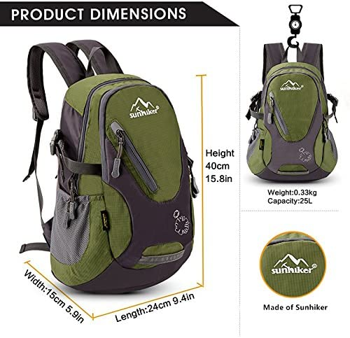 sunhiker Small Cycling Hiking Backpack Water Resistant Travel Backpack Lightweight Daypack M0714