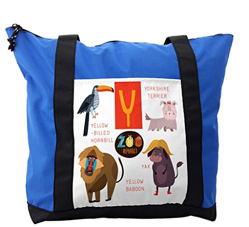 Lunarable ABC Kids Shoulder Bag, Yak with Yorkshire Terrier, Durable with Zipper by Lunarable