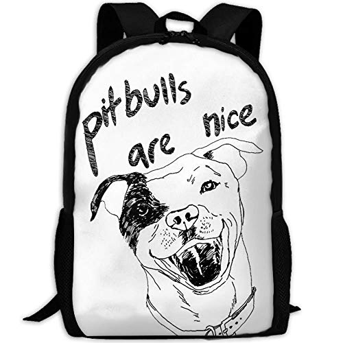 DKFDS Backpacks Most Durable Lightweight Funny Canvas College Student Bag Bookbag - Pitbulls Are Nice