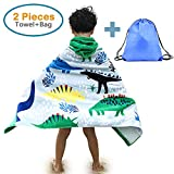 100% Cotton Kid's Hooded Beach Bath Towel and Bag Set for Boys Cartoon Dinosaur Pattern 4-14 Years