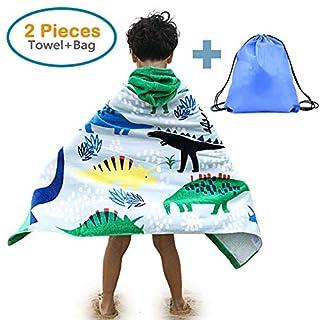 100% Cotton Kid's Hooded Beach Bath Towel and Bag Set for Boys Cartoon Dinosaur Pattern 4-14 Years