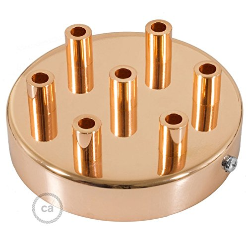 Creative Cables Copper 4.7'' 7 Hole Ceiling Rose kit with Cylindrical Copper Plated Cable Retainer.