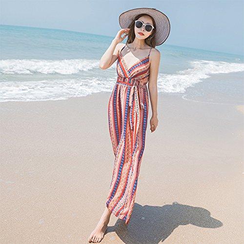 De Rayas Sling La RONG Vestido Vestido Y pattern XIU Dress Camiseta Resort Mujer Decorative Sin Playa Chiffon Mangas Seaside De S4AnRw