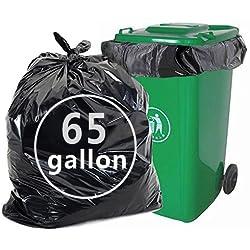 Nicesh 65 Gallon Black Trash Bags, Lawn and Leaf Trash Bag, 66 Counts