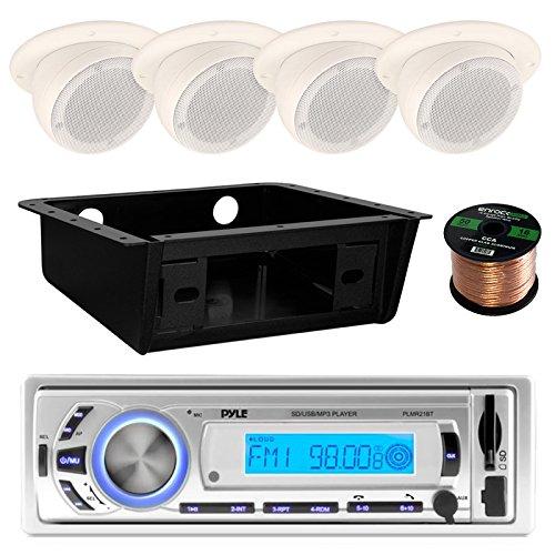 Pyle Bluetooth Marine USB/SD/MP3 Receiver Head Unit, 4X Magnadyne 3