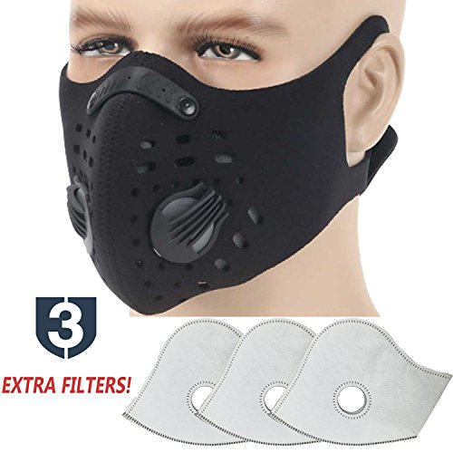 MoHo Dust Mask, Upgrade Version Activated Carbon Dustproof Mask Windproof Foggy Haze Anti-Dust Mask Motorcycle Bicycle Cycling Ski Half Face Mask for Outdoor Activities (black+3 extra filters) - Respiratory Masks