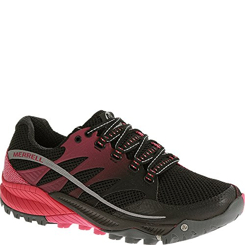 Merrell Women's All Out Charge Trail Running Shoe,Black/Geranium,10 M US