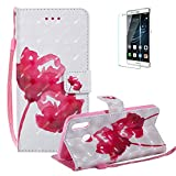 Funyye Strap Magnetic Flip Case for Huawei P20 Lite,Elegant 3D Red Rose Fantasy Painted Design Folio Wallet Pocket with Stand Credit Card Holder Slots Soft Silicone PU Leather Case for Huawei P20 Lite,Full Body Shockproof Non Slip Smart Durable Shell Protective Case for Huawei P20 Lite + 1 x Free Screen Protector
