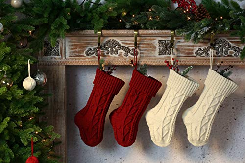 Vanteriam Knit Knitted Christmas Stockings, 4 Pack Personalized Christmas Stockings 15 Inches Cable Knit Stockings for Xmas Decorations, Ivory White and Burgundy Set of 4
