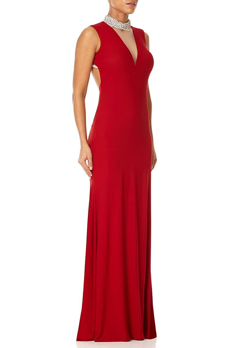 Forever Unique - AUSTIN - Red Maxi Dress with Plunge Neck and Beaded Collar 6: Amazon.co.uk: Clothing