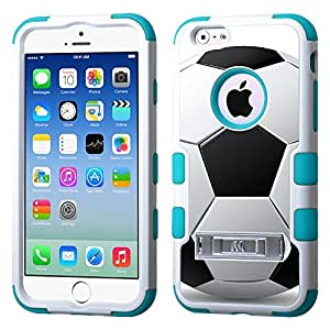One Tough Shield ? Hybrid 3-Layer Case (White/Teal) with Kick-Stand for Apple iPhone 6 - (Soccer)