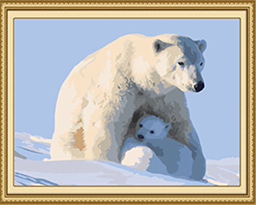 Diy Oil Painting Paint by Number Kit for Adults Beginner 16x20 inch - Polar Bear, Drawing with Brushes Christmas Decor Decorations Gifts