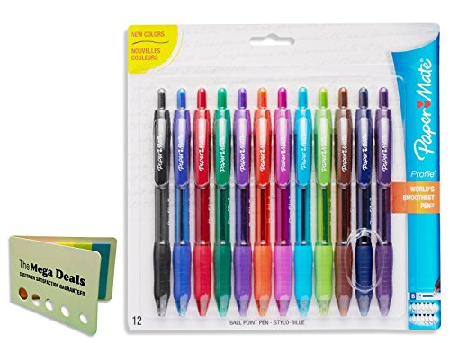 Paper Mate Profile Retractable Ballpoint Pens, Bold (1.4mm), Assorted Colors, 12 Count, Includes 5 Color Flag Set
