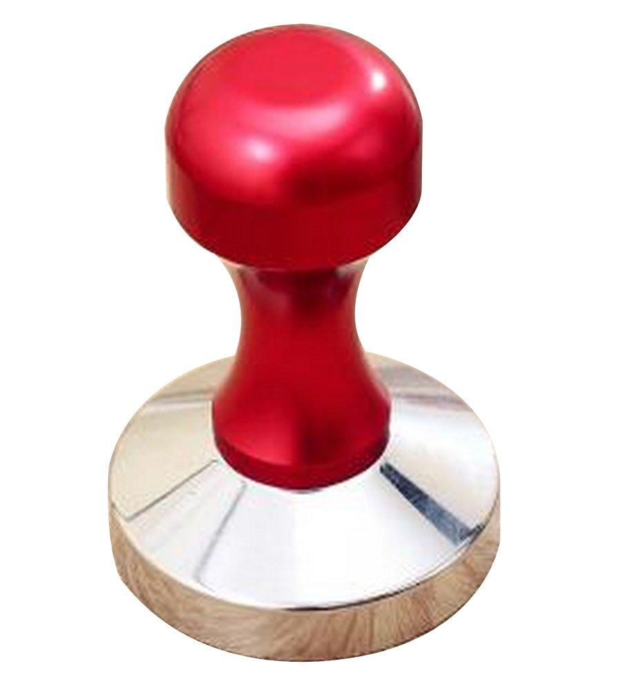 24station Stainless Steel Espresso Hand Tamper Flat Base 58mm [Red]