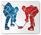Lunarable Sport Mouse Pad, Hockey Players Hobby Activity Themed Athletes Game Win Champion Olympics Illustration, Rectangle Non-Slip Rubber Mousepad, Standard Size, Blue Red