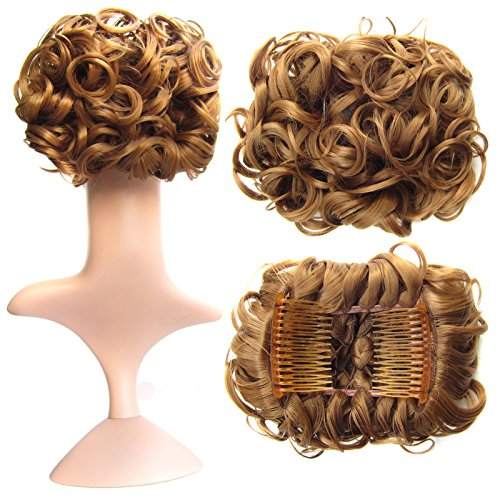 SWACC Short Messy Curly Dish Hair Bun Extension Easy Stretch hair Combs Clip in Ponytail Extension Scrunchie Chignon Tray Ponytail Hairpieces (Strawberry Blonde-27#)