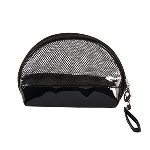 CLOTHES- Shell Cosmetic Bag Travel Semicircle Lavaggio impermeabile Il pacchetto trasparente in PVC Nero Bags Lady Bag Cosmetic Bag