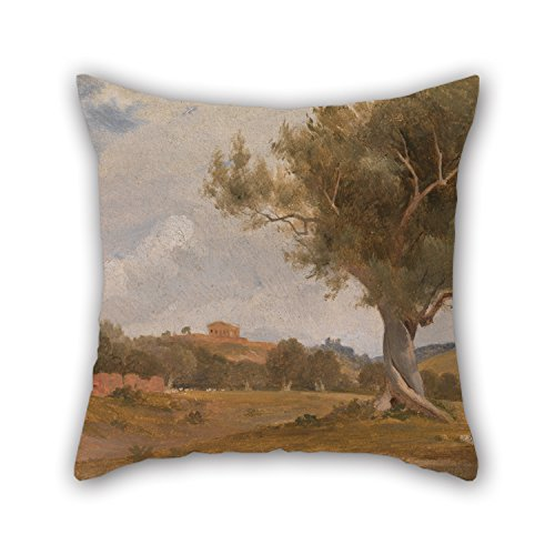 Oil Painting Charles Lock Eastlake - A View At Girgenti In Sicily With The Temple Of Concord And Juno Pillow Shams 16 X 16 Inches / 40 By 40 Cm Gift Or Decor For Family Outdoor Valentine Kids Boys