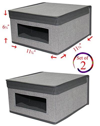 Set of 2 Heather Grey Storage Box with See-Through Window, Grey Trim, Convenient Storage Box with Lid, Size: 11 ¾'' x 11 ¾'' x 6 1/4''