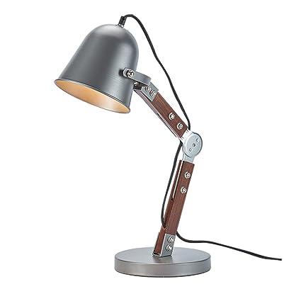 Wsxxn Retro Estilo Industrial Lámpara de Mesa Plug-in Hierro ...