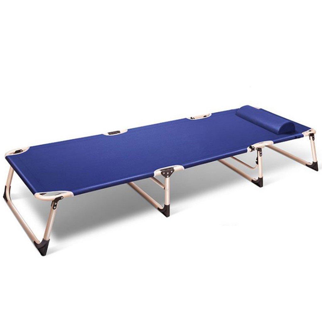灰色のビーチ折り畳み式のラウンジチェア(枕あり)大人用屋外キャンプ用パティオヘビーデューティポータブルローンチェア、メタル、オックスフォード布、150kg (色 : 青)  青 B07D8Y58FT