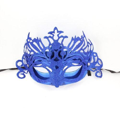 Glitter Polvere Accent plastica Mardi Gras sfera di costume del partito maschera blu for $<!--$4.09-->