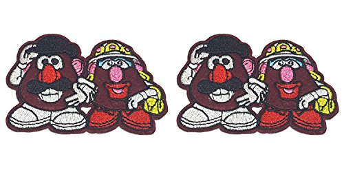 Application Cartoon Classic Toy Story Mr. & Mrs. Potato Heads Cosplay Badge Embroidered Iron or Sewn-On Applique Patch 2-Pack Gift (Mrs Jason Halloween Costume)