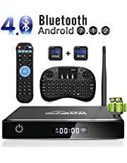 Android TV Box, GooBang Doo XB-III Smart TV Box Android 7.1 Quad Core 2GB RAM/16GB ROM Admite 4K 3D 2.4GHz WiFi Bluetooth con Mini Teclado Inalámbrico