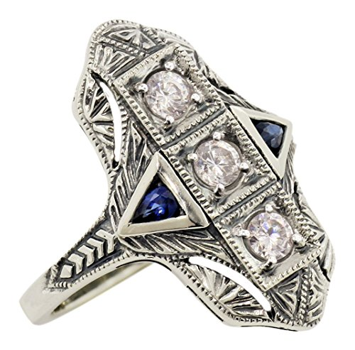 - Art Deco Style Filigree White Topaz and Sapphire Ring in Sterling Silver (Sz 8)