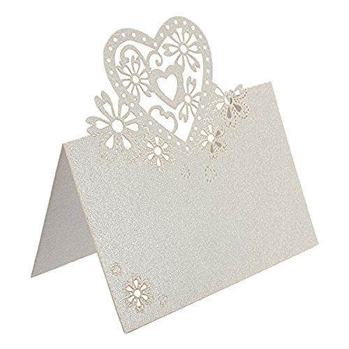 Jypc 50pcs Wedding Party Table Name Place Cards Favor Decor Love Heart Laser Cut Design (White)