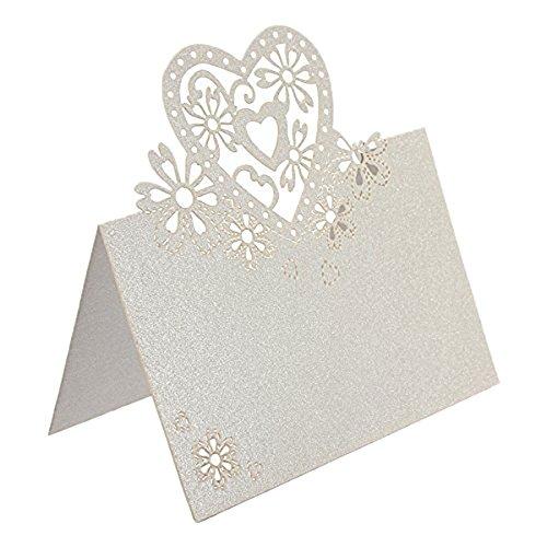 Jypc 50pcs Wedding Party Table Name Place Cards Favor Decor Love Heart Laser Cut Design (White)