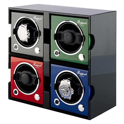 Watch Winder Box - Rapport London Evo Cube Automatic Watch Winder Box - Quad