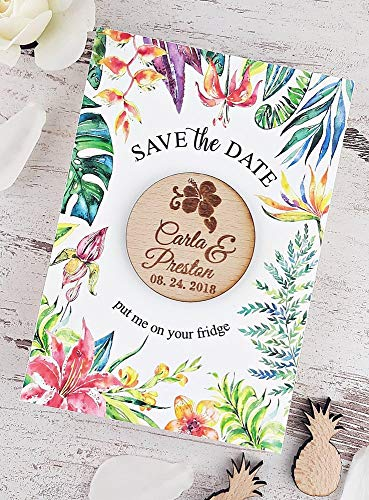 Tropical Save The Date Card, Wooden Save The Date Magnet, Floral Save The Date Wedding Magnet, Hibiscus Wooden Magnet Set of 20 -