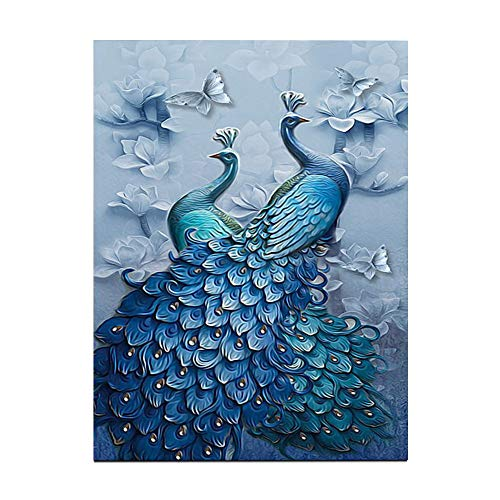 UUJULY 5D DIY Diamond Painting Kits Full Drill Circular Drill-Blue Peacock for Home Wall Decor 12.6 x 15.7 Inches, Blue Peacock