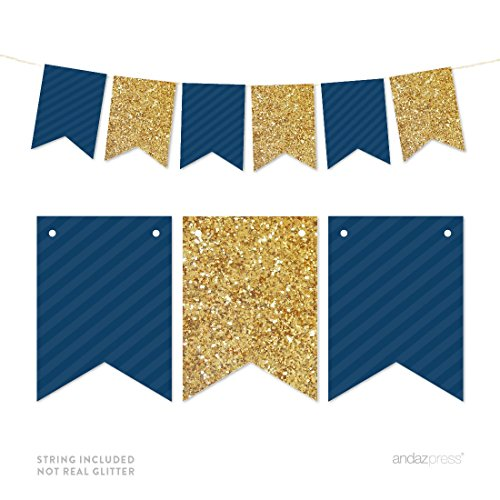 Andaz Press Gold Glitter Print Hanging Pennant Party Banner with String, Gold Glitter and Navy Blue, 9-Feet, 1-Set, Decor Paper Decorations, Not Real Glitter, Includes String
