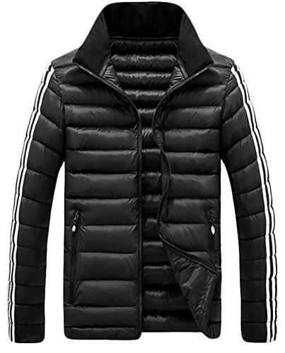 Down Stripe Jacket EKU Black US XL Men's Stand Fashion Collar Side Coat qWWRpO4w