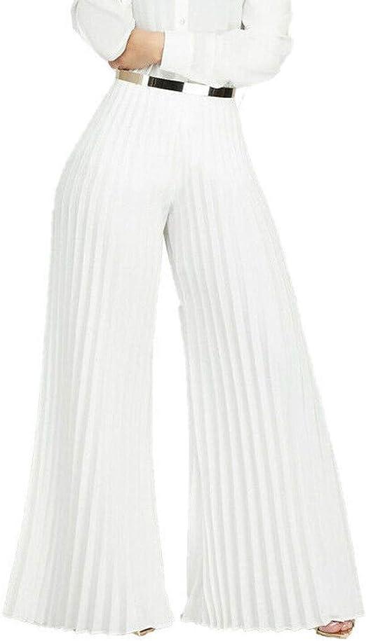 Worsworthy Pantalones De Mujer Casual Elegantes Pantalones De Plisados Solidos De Cintura Alta Para Mujer De Moda Pantalones Anchos Sueltos De Pierna Ancha Casuales Elegantes Poliester Amazon Es Ropa Y Accesorios