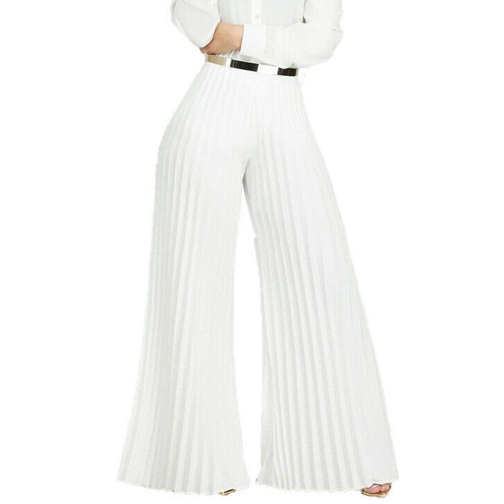 VEZAD Store Casual Wide Leg Loose Pleated Palazzo Pants Women High Waist Solid Trousers by VEZAD Store