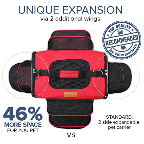 Bow Meow PREMIUM PET CARRIER, Airline Approved, Unique 4 sides Expandable, Extra Spacious. For Cats, Dogs, Kittens, Puppies - Extra Spacious Soft Sided Carrier. (Red)
