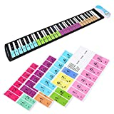 Removable Piano Stickers,Electronic Keyboard Note Keys Stickers Labels for 49 / 61 / 76 / 88 Key Keyboards for Kids and Beginners Learning Piano or Keyboard (Multicolor)
