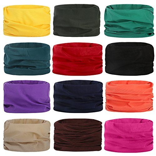Headwear Head Wrap Sports Headband Sweatband Casual Magic Scarf Bandana 12 in 1 Multifunctional 12PCS/9PCS/6PCS for Men and Women ()