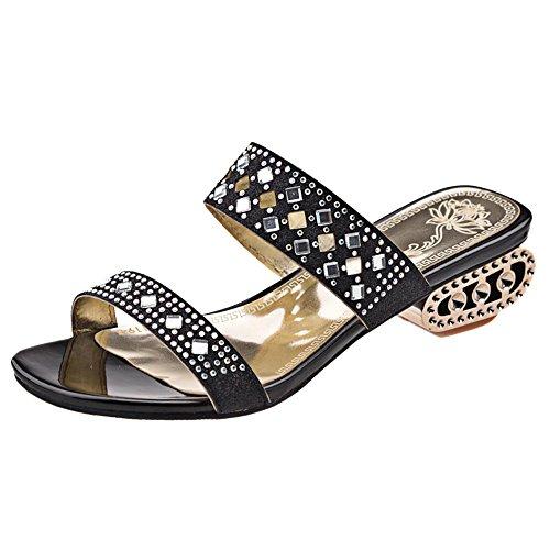 TAOFFEN Women Fashion Open Toe Mules Sandals Black 4EcPlIZ6v