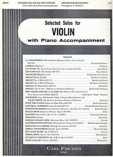 Bach: Celebrated Air on the G String, Violin Solo with Piano or Organ Accompaniment (Pull Out Sections for Violin Part and Accompaniment Part) (Superior Edition, 3019) (Bach Air On G String Violin Sheet Music)